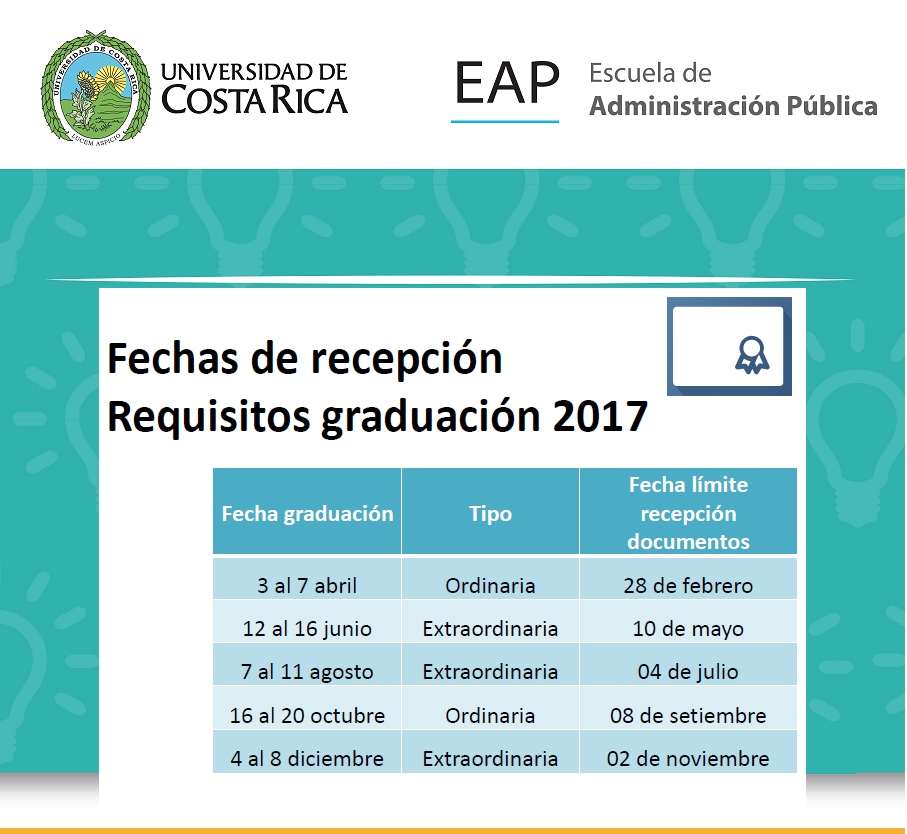 fechas recepcion requisitos graduacion 2017